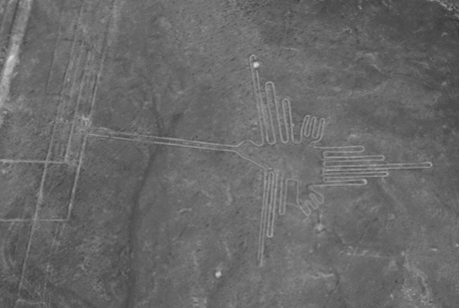 The kolibri of the Nazca lines in Peru seen from above
