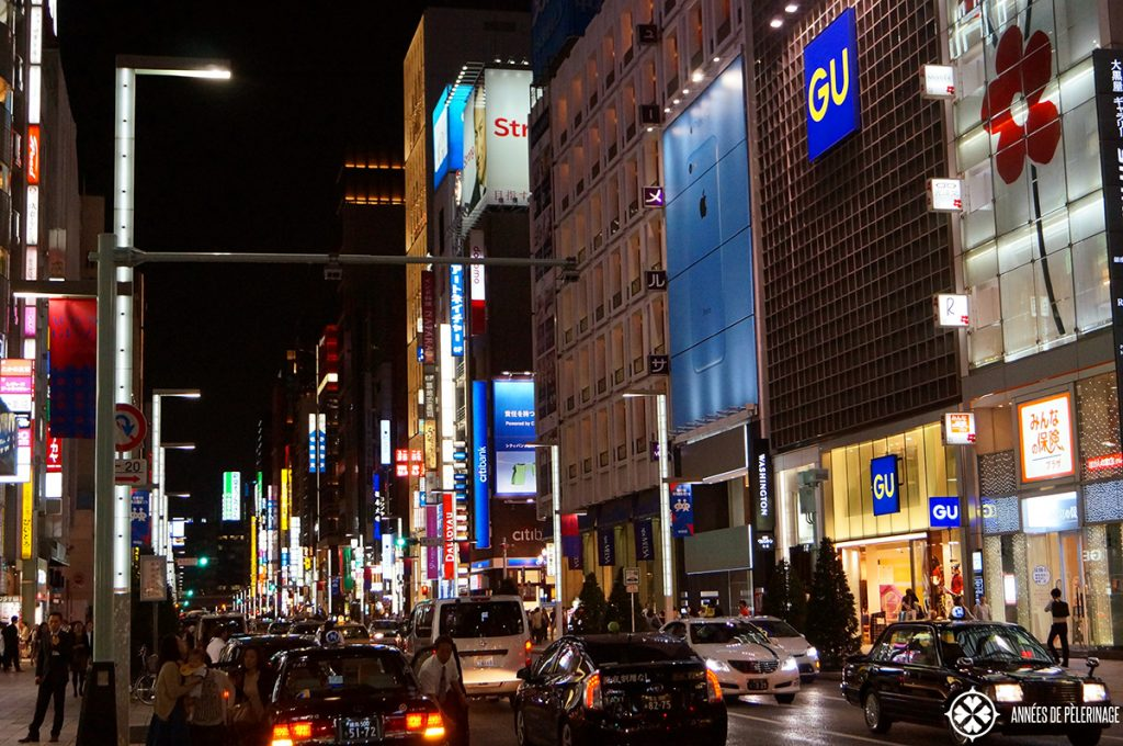 The Ginza in Tokyo at night. One of the many shopping distrcits of Japan's capital and a must place to see