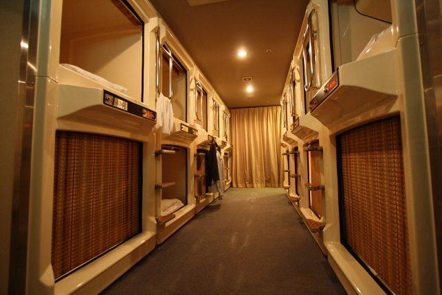 Inside a capsule hotel in Tokyo, Japan