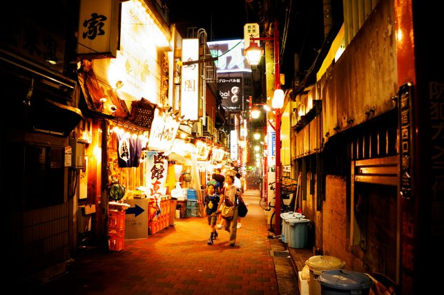 The golden gai district in Tokyo, Japan, at night