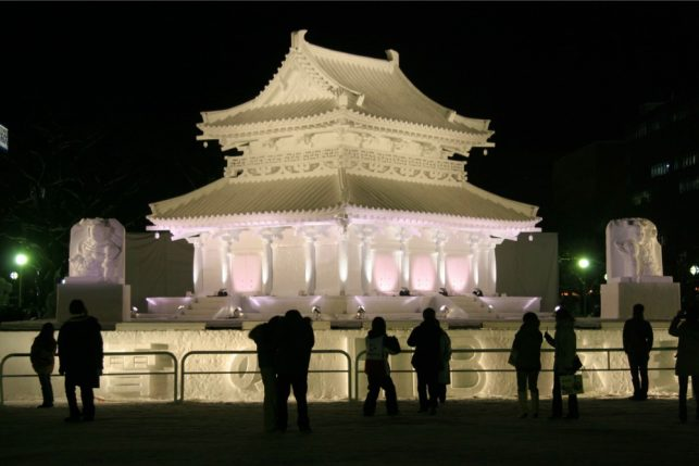 A pavilion of ice at the sapporo snow festival in Hokkaido, Japan | pic: Takuya Yoshimura
