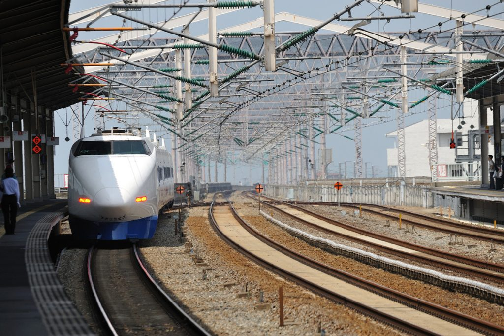 Shinkansen bullet train as it enters a train station in Japan | pic: Takeshi Kuboki