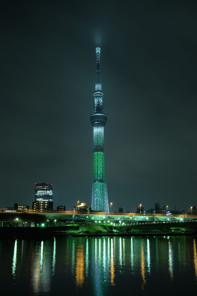The Tokyo Skytree, the second tallest building in the world, at night.
