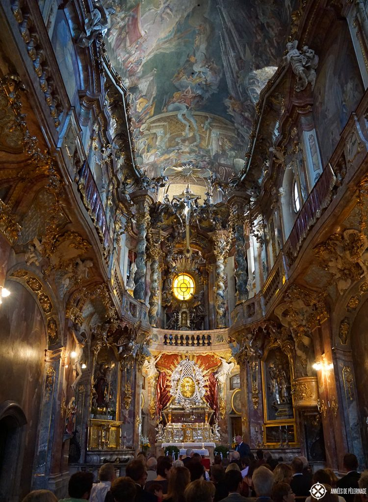Inside the famous Asamkirche in Munich, Germany