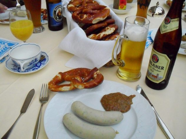 A traditional bavarian Weisswurst breakfast in Munich