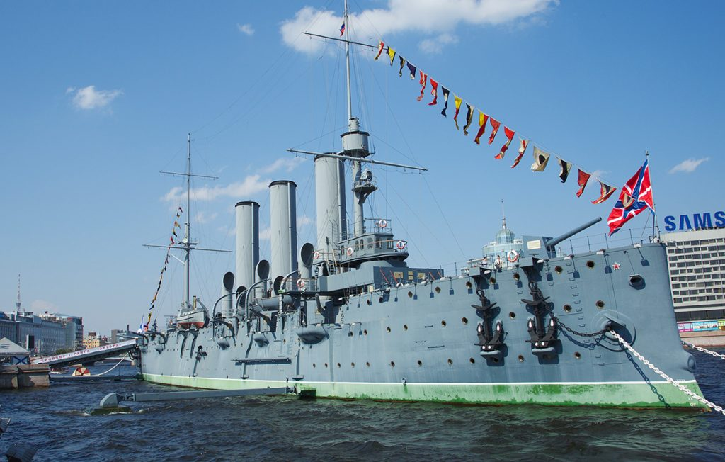The russian museum ship Aurora in St. Petersburg, Russia