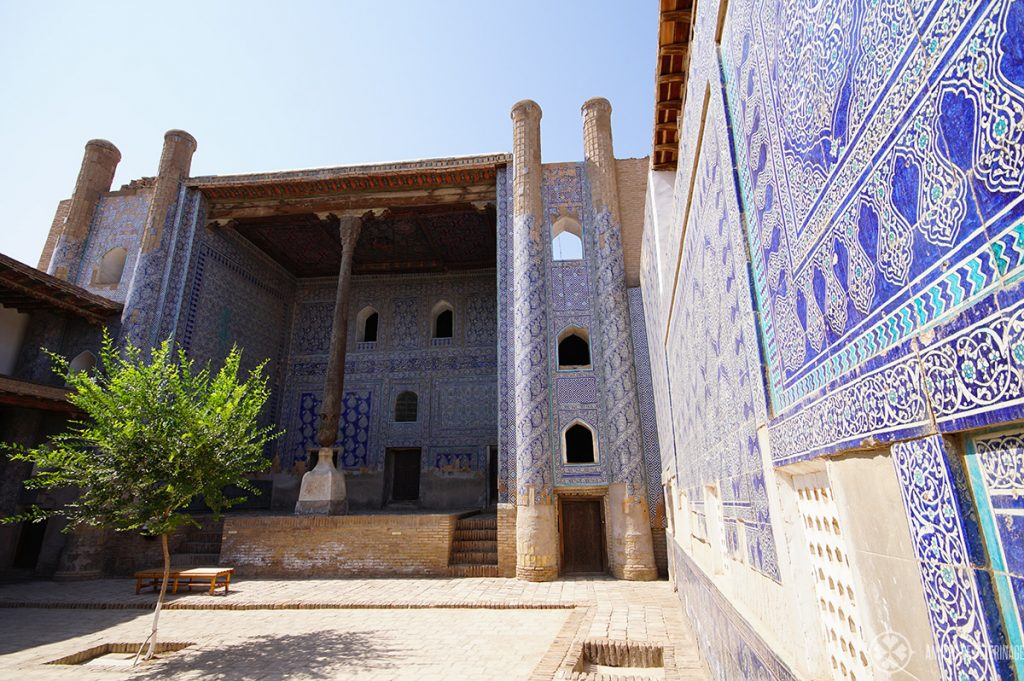 The blue courtyards in the Tash-Kauli Palace in Khiva, Uzbekistan