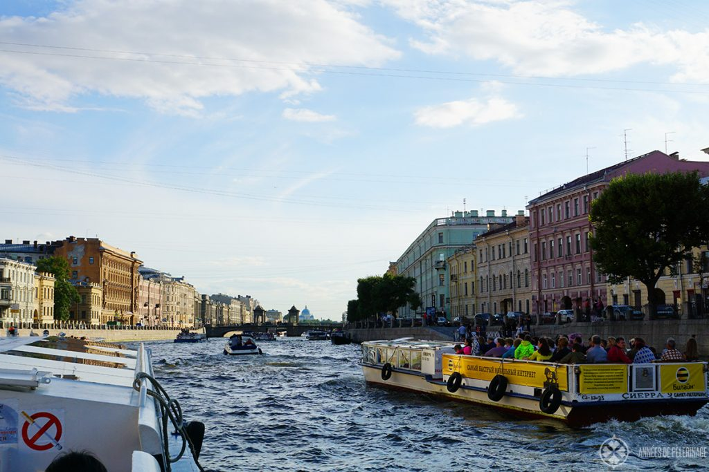 A canal boat tour through St. Petersburg, Russia