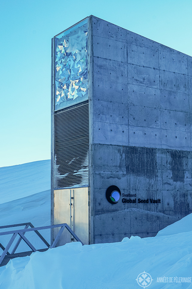 The building of the global seed vault in spitsbergen not very far from downtown Longyearbyen