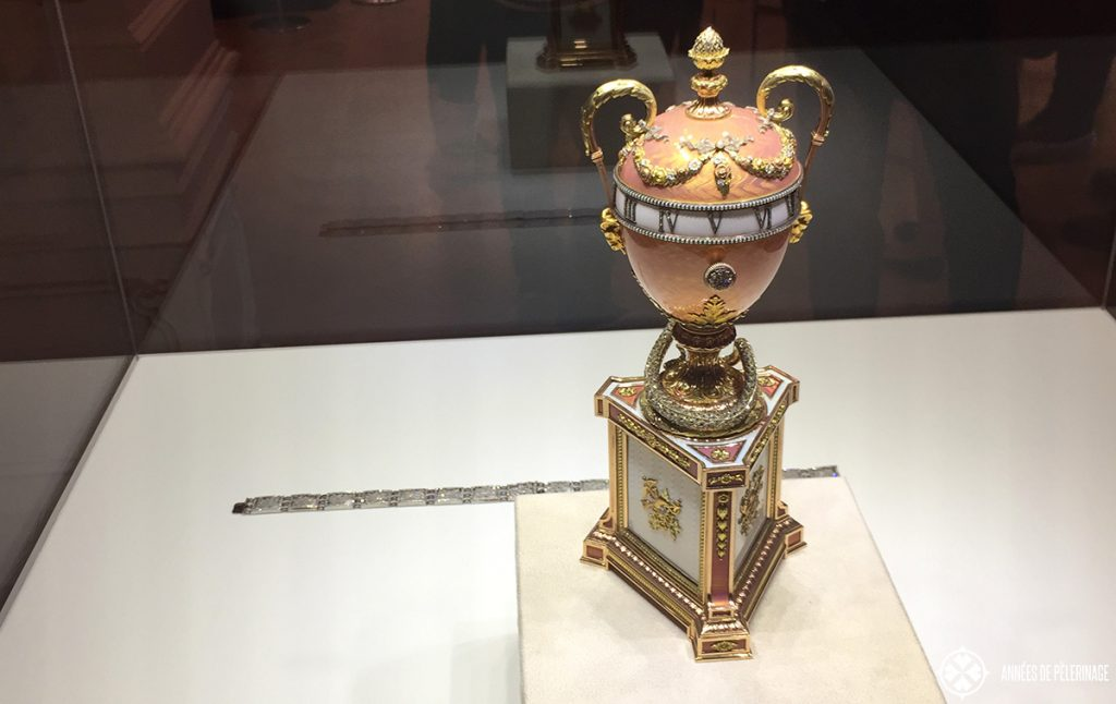 An imerpial easter egg in the Fabergé Museum in St. Petersburg, Russia