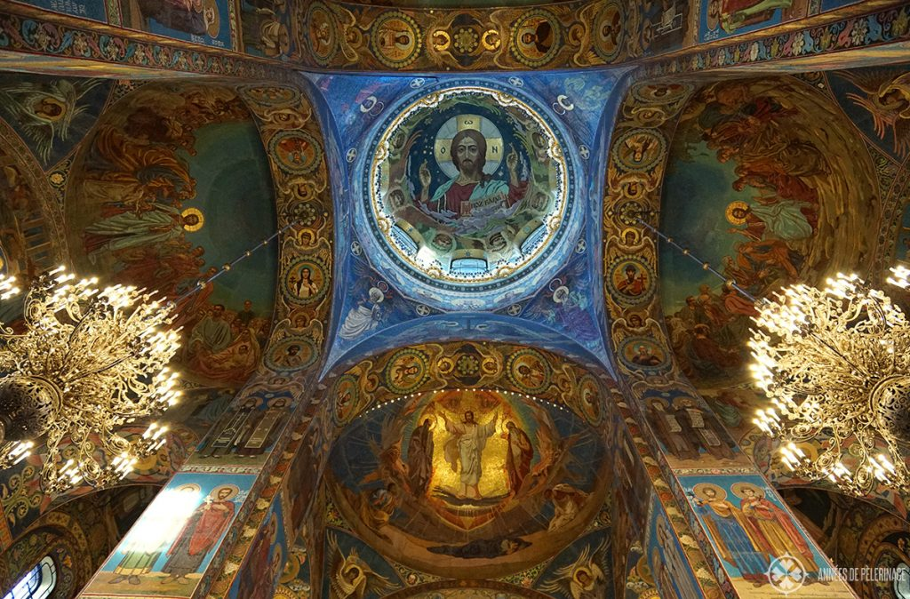 Inside the Church of the Savior on Spilled blood in St. Petersburg, Russia