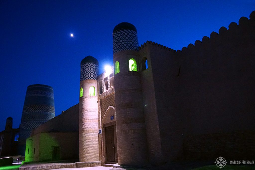 The city of Khiva, Uzbekistan, at night