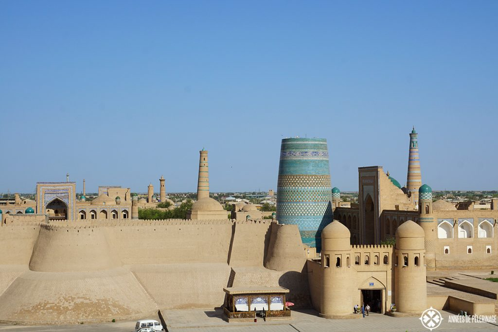 The main entrance into khiva, Uzbekistan, as seen from the minaret oposite it.