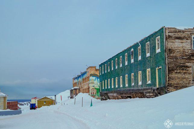 The main road through the mining town of Barentsburg russian settlement spitsbergen
