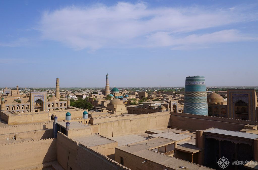 The view of Khiva, Uzbekistan, as seen from the Fortress