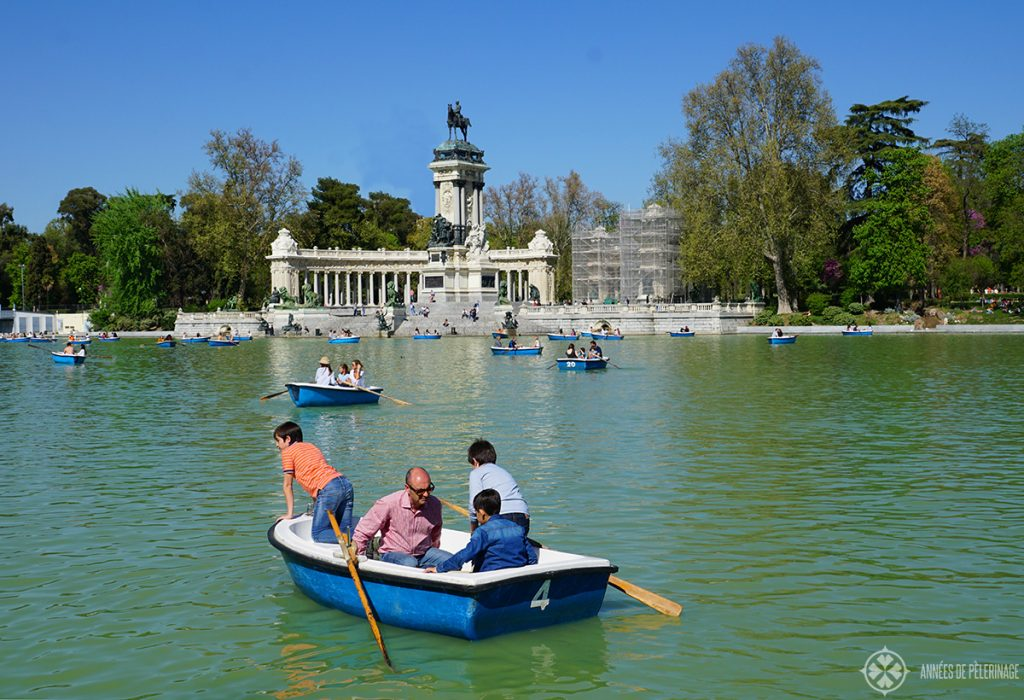 The El Retiro Park right in the heart of Madrid, Spain