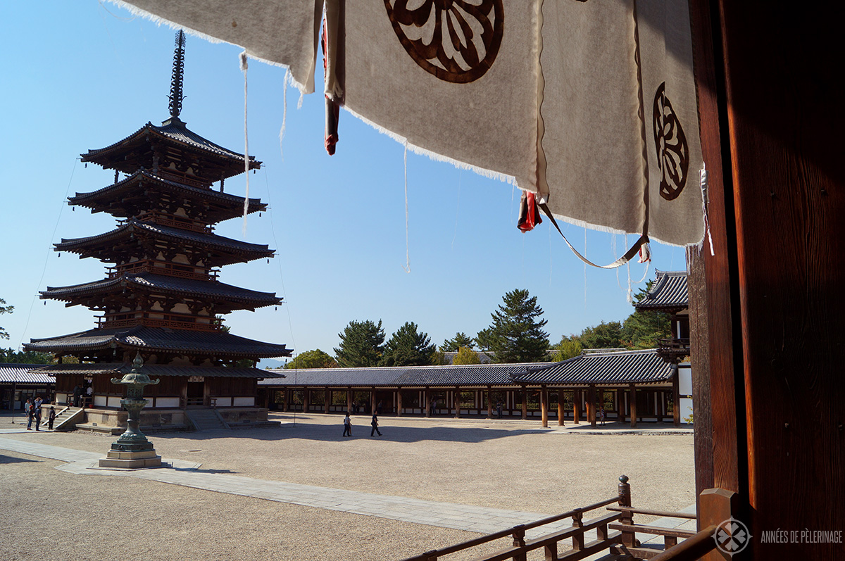 The Horu-ji temple in Nara, Japan. Said to be the oldest woden construction in the world and one of the many amazing things to do in Nara.