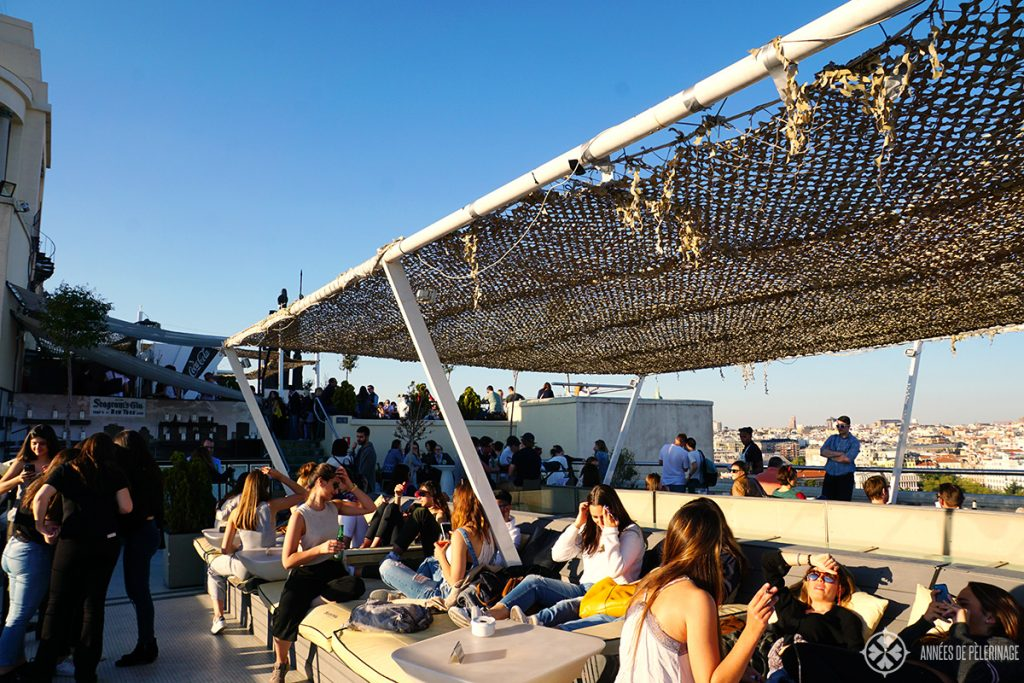 The roof top bar at the Circulo de Bellas Artes in Madrid, Spain