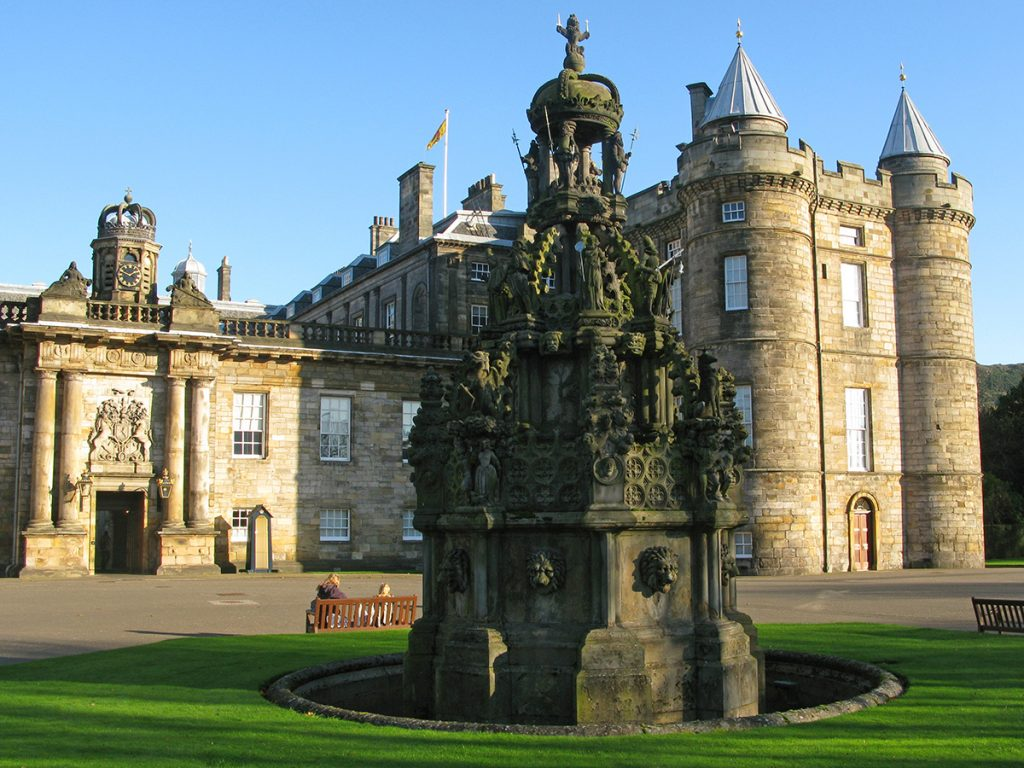 Hollyroodhouse Palace in Edinburgh Scotland - this is where the queen sleeps, when she is in scotland's capital