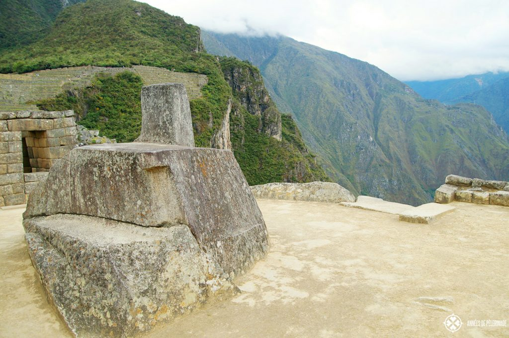 A close-up of the Intihuatana stone in Machu Picchu, Peru