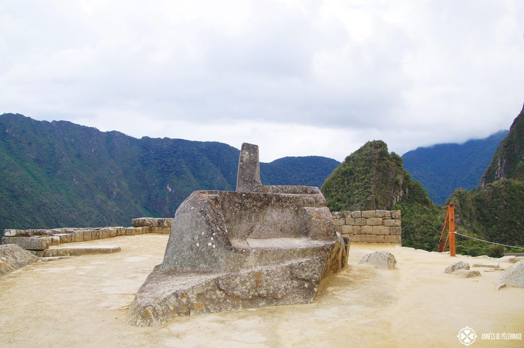 The multi-leveled dais of the Intihuatana stone in Machu Picchu Peru, a sacred relict of the Incas