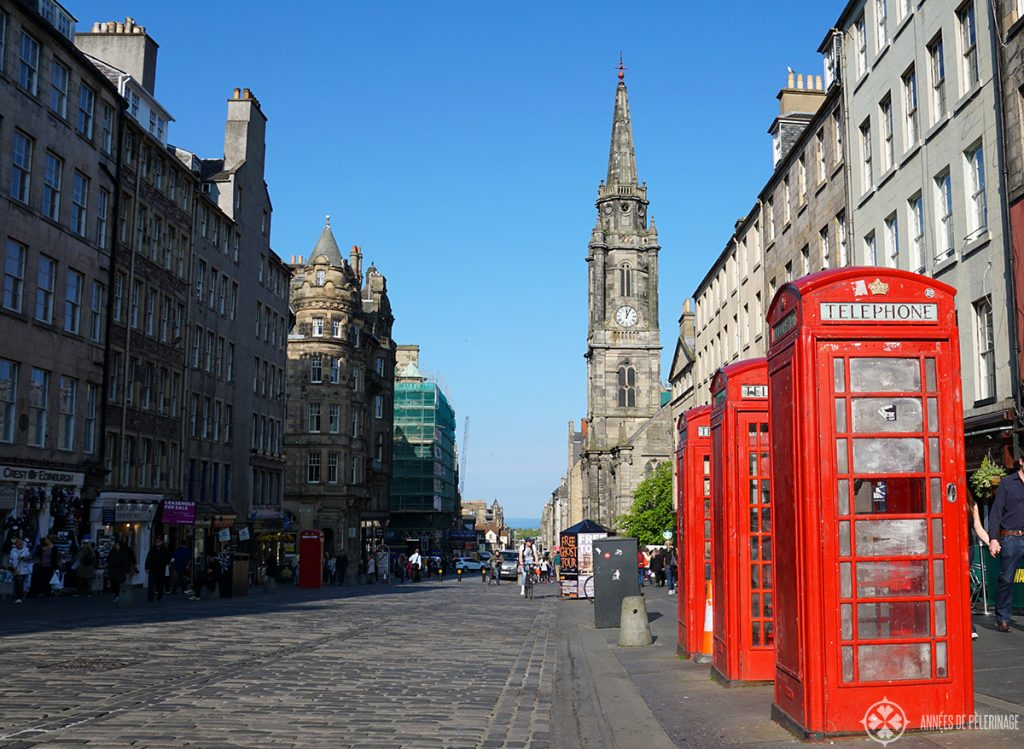 The Royal Mile in Edinburgh Scotland, where a lot of shops and small museums are located