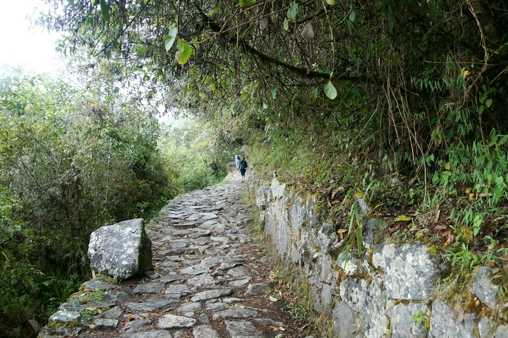 The last stretch of the classical Inca Trail from Cusco to Machu Picchu. As the paths are fairly well maintained, there is actually no need to put hiking boots on your Inca trail packing list