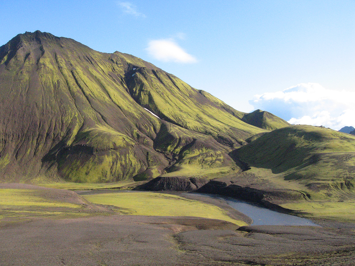 Hiking through the rugged landscape of iceland. With mountains like these, good hiking booths are needed to keep save