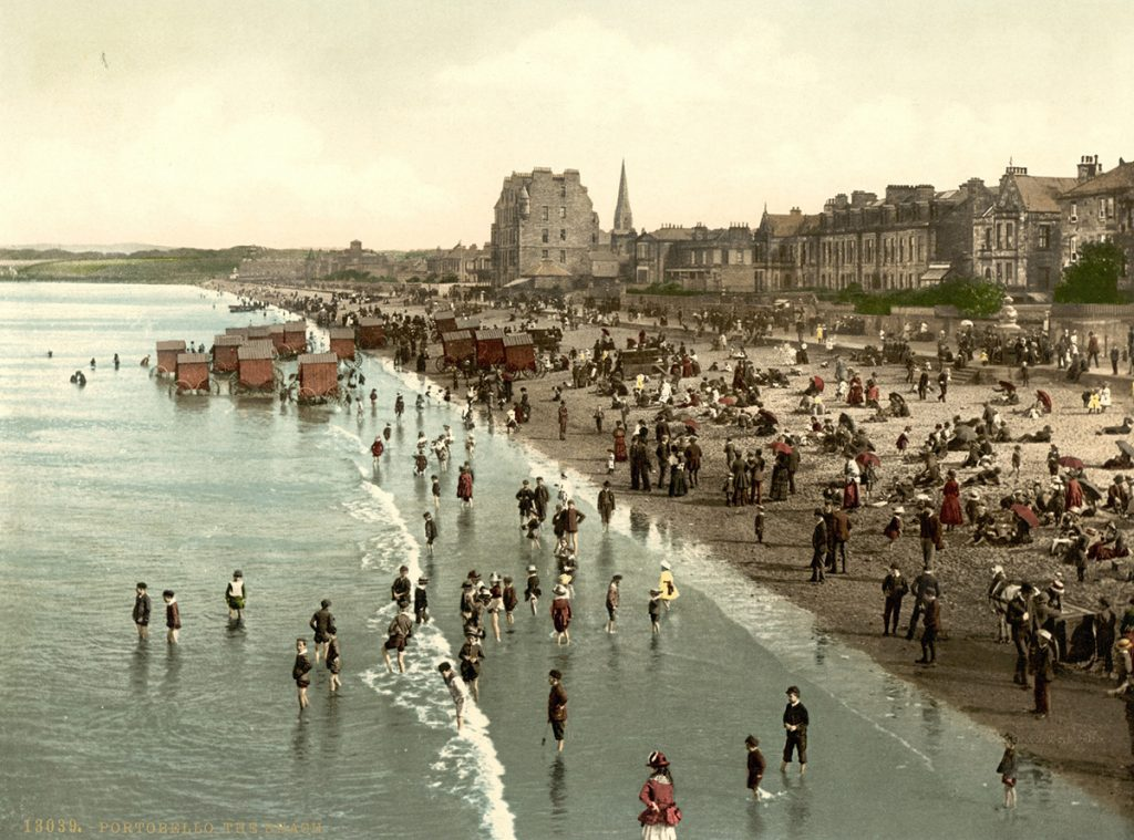 A historic postcard of Portobello beach