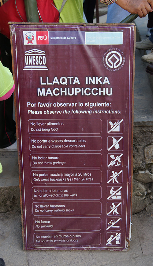 Things you are forbidden to bring into and don't need to put on your Machu Picchu Packing list
