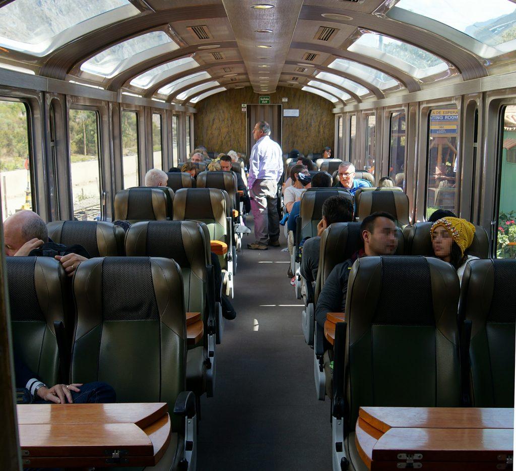 Inside the Vistadome train from Cusco to Machu Picchu