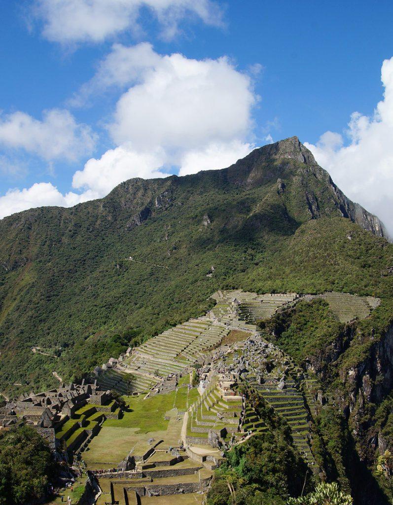 Machu Mountain (Montaña) behind machu Picchu in Peru