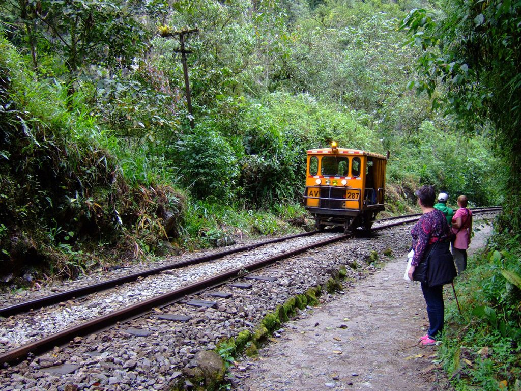 A group of travelers walking from Hidroelectrica to Aguas Calientes