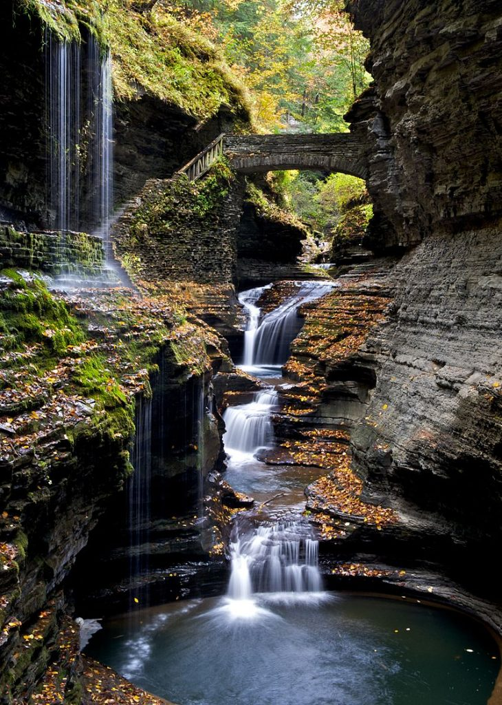 Rainbow Falls Bridge in Watkins Glen State Park