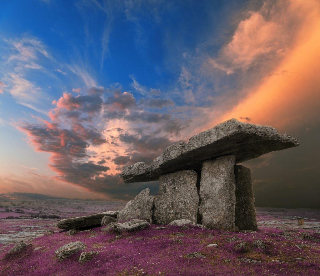 Poulnabrone dolmen tomb at sunset, Ireland