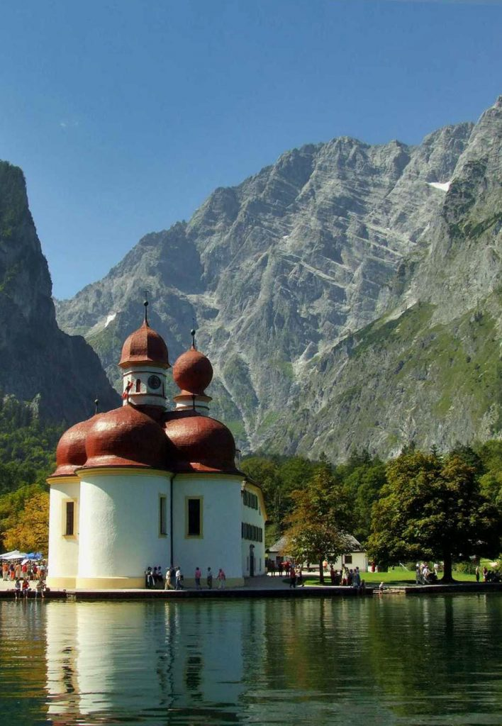 The church of St. Bartholomä am Königsee in Bavaria, Germany