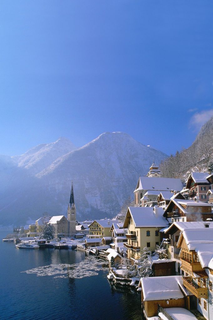 The small town of Hallstatt in Austria in winter