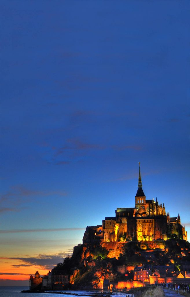 Mont Saint-Michel, France at sunset