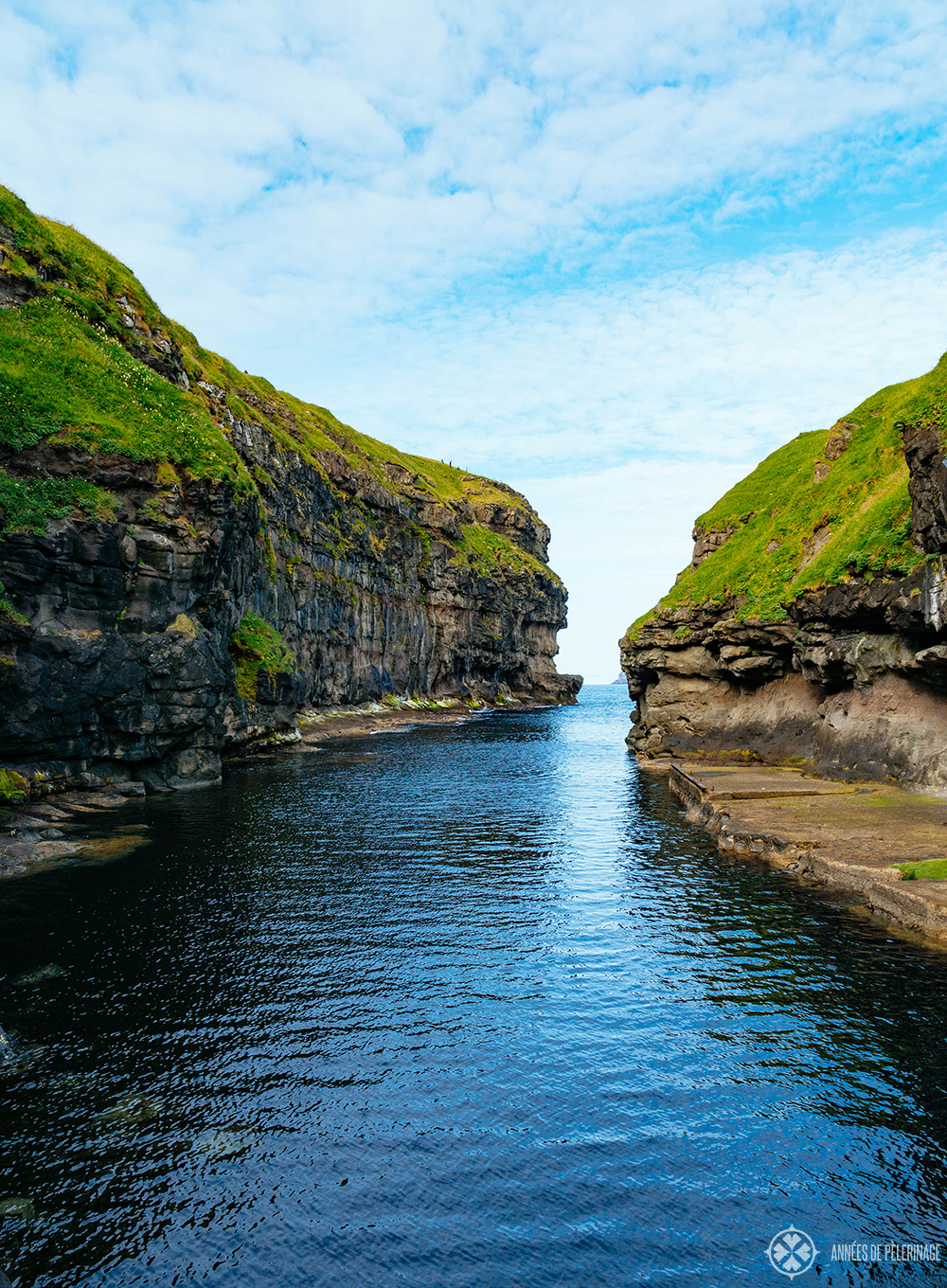 The flooded gorge at the village of Gjógv in Faroe Islands