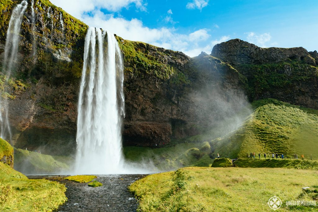 The magic Seljalandsfoss waterfall on the way to Vík in Iceland