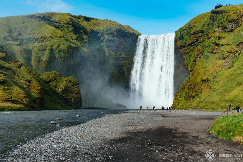 The majestic Skogafoss waterfall in Iceland
