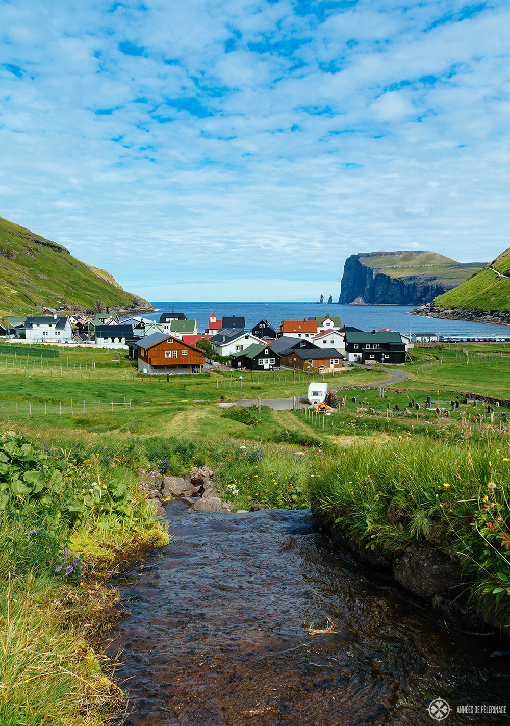 THe tiny Tjørnuvík village in the Faroe Islands