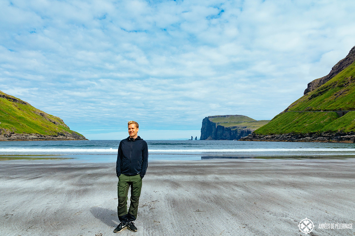 Me standing the beach of the village Tjørnuvík in the Faroe Islands