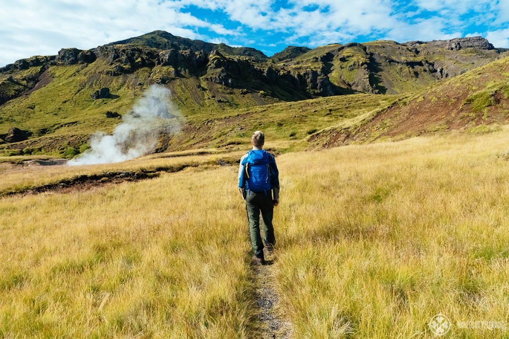 Me hiking through the mountains of Iceland