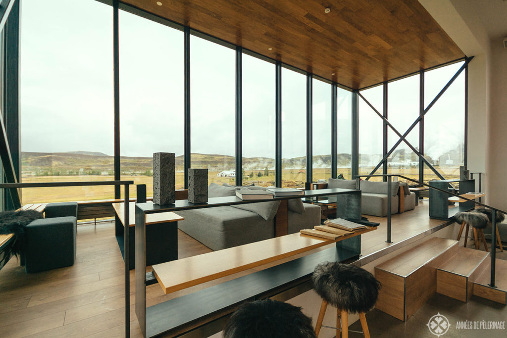 The design of the Northern Light bar at the Ion Adventure Hotel in Iceland