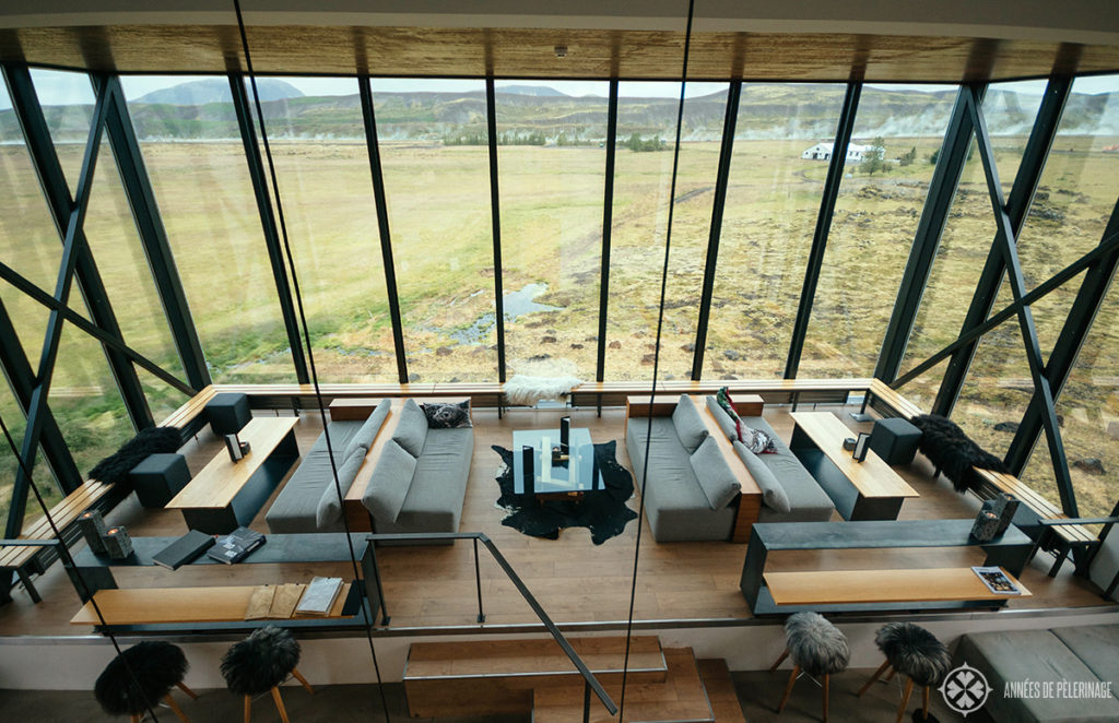 The northern light bar of the Ion Adventure Hotel in Iceland as seen from above