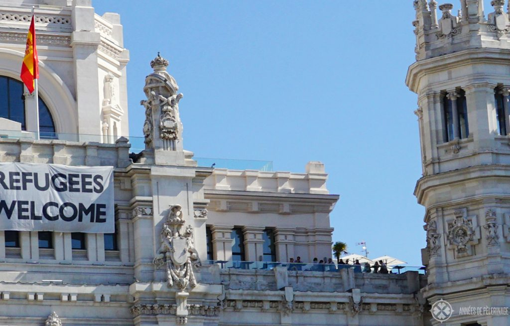 The rooftop bar at Bar Terraza Palacio De Cibeles in Madrid