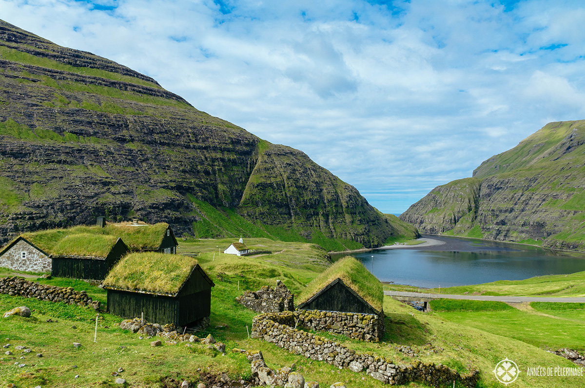 Grass tatched houses in the village of Saksun in the Faroe Islands