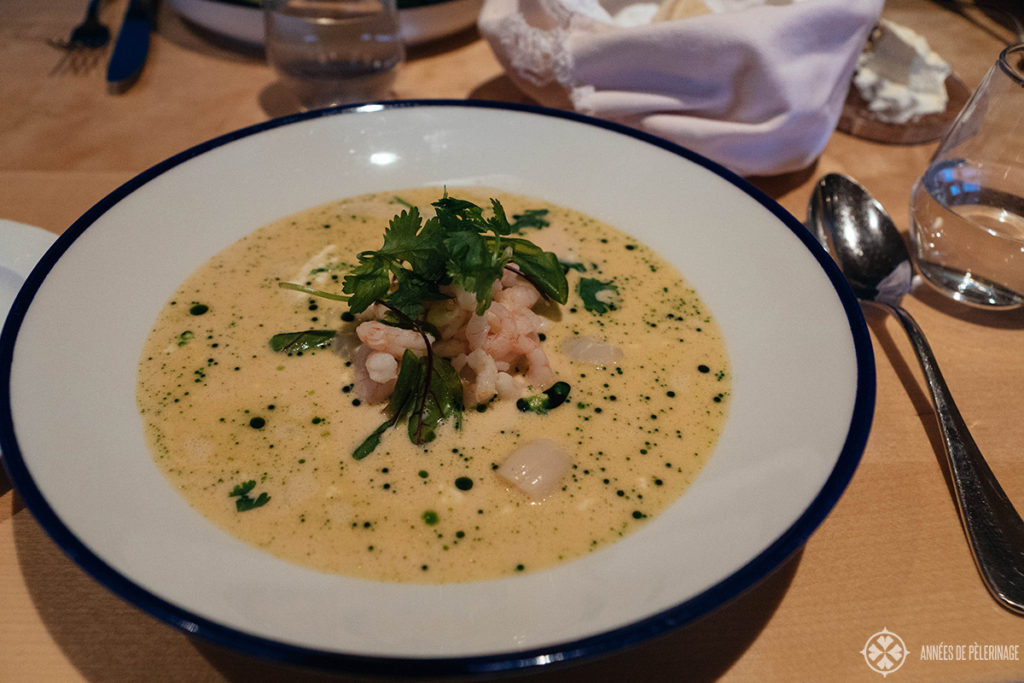 Eating a seafood soup for dinner at the Ion Adventure Hotel in Iceland