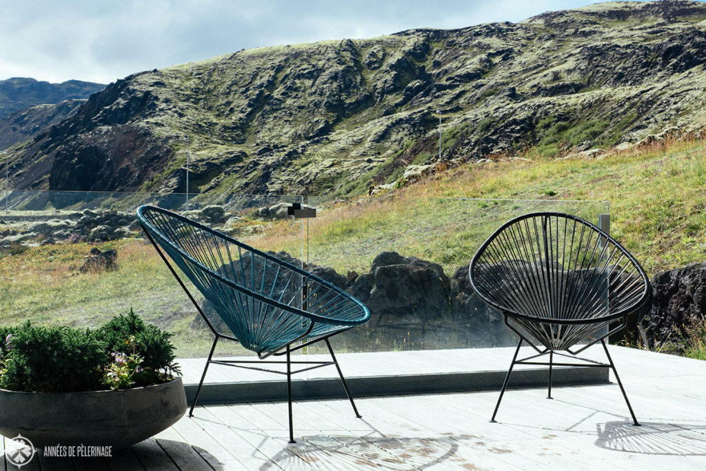 The sitting area near the pool of the Ion Adventure Hotel in Iceland